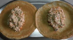 Farcit creps de salmó i verduretes