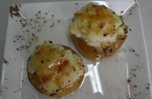 Poma al forn amb crema catalana